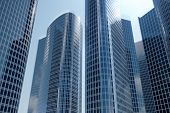 3d Illustration Low Angle View Of Skyscrapers. Skyscrapers At In Day Looking Up Perspective. Bottom  poster