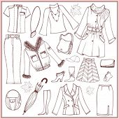 Set of woman autumn clothes and accessories (doodle)