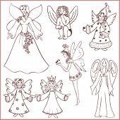 Doodle set of angels