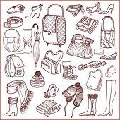 Conjunto de accesorios y ropa de Doodle