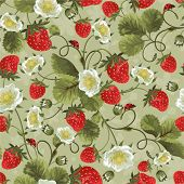 Seamless background with a strawberry and ladybirds