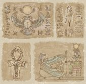 stock photo of ankh  - Background of the egyptian frescoes - JPG
