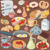 Collection of vector food and drinks for a breakfast