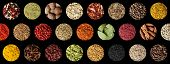 Spice Collage Background. Assortment Of Spices Herbs And Condiments Isolated On Black Top View. poster