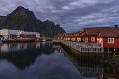 The Evening At Svolvaer, Lofoten Islands. Svolvaer Is The Administrative Centre Of Vagan Municipalit poster