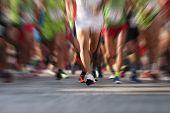Marathon Running Race People Feet On City Road,abstract poster