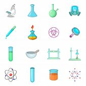 Chemical Lab Icons Set. Cartoon Illustration Of 16 Chemical Lab Icons For Web poster