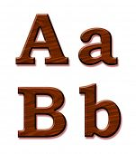 Wooden alphabet. Letters Aa and Bb