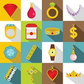 Jewelry Items Icons Set. Flat Illustration Of 16 Jewelry Items Icons For Web poster