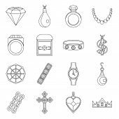 Jewelry Items Icons Set. Outline Illustration Of 16 Jewelry Items Icons For Web poster