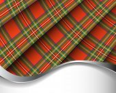 Red pleated Scottish plaid background/horizontal