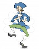 Happy dancing man. Cartoon character. Vector without background