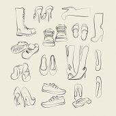 coleção de calçados, ilustrações vetoriais