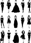 fashionable women silhouettes, vector