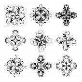 set of 4-pointed abstract stars, vector. Lots of details. No autotracing.