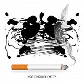 smoked-up lungs and a burning cigarette, ready poster, vector