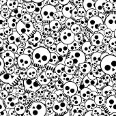 seamless pattern with skulls, vector