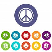 Sign Hippie Peace Set Icons In Different Colors Isolated On White Background poster
