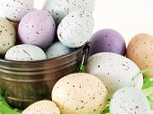 Pastel Flecked Eggs In A Pail