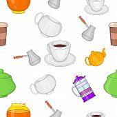 Beverage Pattern. Cartoon Illustration Of Beverage Pattern For Web poster