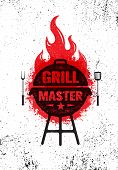 Grill Master Meat On Fire Barbecue Menu Vector Design Element. Outdoor Food Meal Creative Rough Sign poster