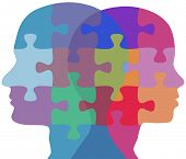stock photo of opposites  - Man and Woman profiles face opposite ways in couple problem jigsaw puzzle - JPG