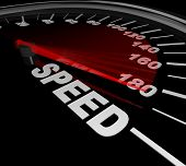 A speedometer with red needle pointing to the word Race representing the importance of speeding up to be fastest and quickest to win the race