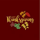 Flat Design Style Happy Thanksgiving Day Logotype, Badge And Icon. Happy Thanksgiving Day Logo Templ poster