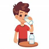 Boy Drinks Milk. Kid Holding And Drinking Milk In Glass. Milk Products For Healthy Children Vector C poster