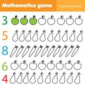 Mathematics Worksheet For Kids. Count And Color Educational Children Activity With Fruits And Vegeta poster
