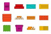Construction Material Icon Set. Color Outline Set Of Construction Material Icons For Web Design Isol poster