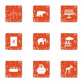 Chemical Factory Icons Set. Grunge Set Of 9 Chemical Factory Icons For Web Isolated On White Backgro poster