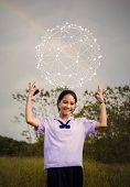 Networking People And Global Network Concept, Young Women With Virtual Network On Blurred Background poster