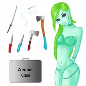 Zombie Collection. Set For The Zombie Apocalypse - Ax, Knife, Medical Kit, Zombie Case And Over. Zom poster