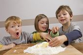 Kids Having Fun Making Dough