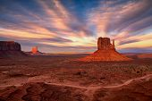 Beautiful View Of Amazing Sandstone Formations In Famous Sunset At Monument Valley, Arizona, Usa poster