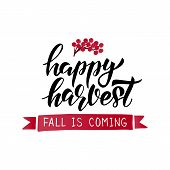 Happy Harvest Lettering Card poster