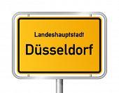 City limit sign DUSSELDORF / DÃ?SSELDORF against white background - federal state of North Rhine Westphalia / Nordrhein Westfalen - vector illustration