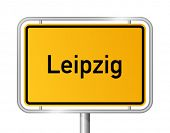 City limit sign LEIPZIG against white background - federal state of Saxony / Sachsen - vector illustration