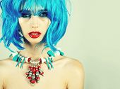 Hairdresser Salon And Barbershop. Girl With Bright Artificial Hair In Ethnic Jewelry. Beauty And Fas poster