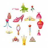Princess Fairytale Doll Icons Set. Cartoon Illustration Of 16 Princess Fairytale Doll Icons For Web poster