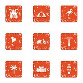 Trip Competence Icons Set. Grunge Set Of 9 Trip Competence Icons For Web Isolated On White Backgroun poster