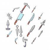 Steel Arms Items Icons Set. Cartoon Illustration Of 16 Steel Arms Items Icons For Web poster