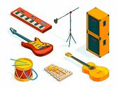 Isometric Music Tools. Vector Pictures Instruments Of Musicians. Illustration Oif Guitar Instrument, poster