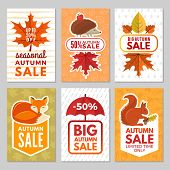 Autumn Cards. Hedgehog, Fox, Squirrel And Autumn Leaves With Umbrella From Rain. Vector Autumn Symbo poster