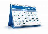 Calendário de 2012. Janeiro de