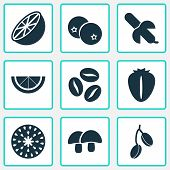 Fruit Icons Set With Tropical Fruit, Lime, Barberry And Other Goji Elements. Isolated Vector Illustr poster