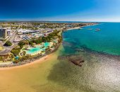 Aerial drone view of Settlement Cove Lagoon, Redcliffe, Brisbane, Australia poster