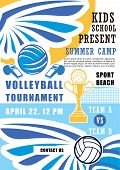 Volleyball Sport Poster For School Summer Camp Tournament. Ball And Whistle, Gold Trophy Cup And Win poster
