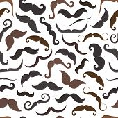 Mustaches Hipster Style Seamless Pattern With Curls, Thin And Thick Mustache Isolated Background. Ma poster
